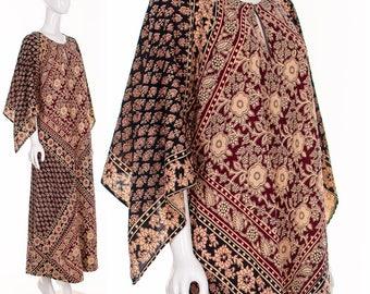 Dress Rare Kaiser Block Print Caftan • Block Print Maxi Dress • 60s India Block Print Caftan • Boho Festival Dress • Angel Wing Sleeve Maxi