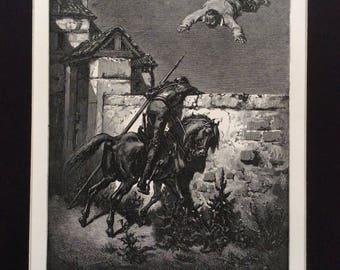 1870 Cervantés DON QUIXOTE Antique Engraving Gustave Doré 1st Edition FRIENDSHIP