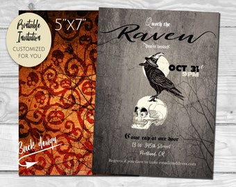 Edgar Allan Poe the Raven Halloween Invitation | Custom Printable PDF and JPG