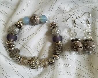 Silvery Gray Bracelet and Earring Set