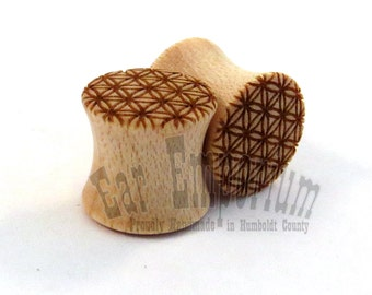 "Flower of Life Maple Wooden Plugs PAIR 0g (8mm) 00g (9mm) (10mm) 7/16"" (11mm) 1/2"" (13mm) 9/16"" (14mm) 5/8"" 16mm 3/4"" 19mm 7/8"" + Ear Gauges"