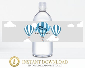 Hot Air Balloon Water Bottle Labels, Up Up And Away, Printable Water Bottle Label, Blue Baby Shower, Baby Boy Baby Shower, Baby Shower Label