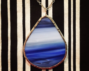 Blue and White Stained Glass Necklace