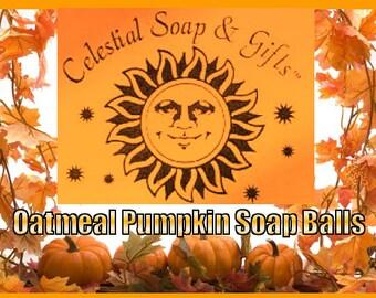NEW - Seasonal Oatmeal Pumpkin Cold Process Soap Balls - Bag of 8 (1) oz. each