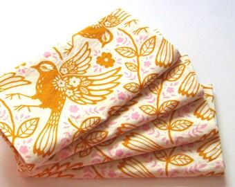 Large Cloth Napkins - Set of 4 - Orange Birds Floral - Dinner, Table, Everyday, Wedding