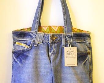 Upcycled Hand made jean Bag-unique Denim bag-unique handmade cowboy handbag from recycled textile material-go upcycling-