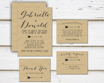 Printable Mini Wedding Suite, Invitation, Thank You Card, RSVP, Details, Package, Template, Rustic, Kraft, Arrow, Simple, MB010