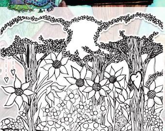 Fairy Garden background stamp