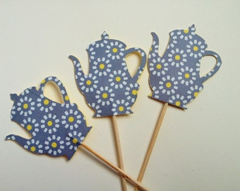 Tea - Graphic Daisy Teapot/Coffee Pot Cupcake Toppers - Set of 12