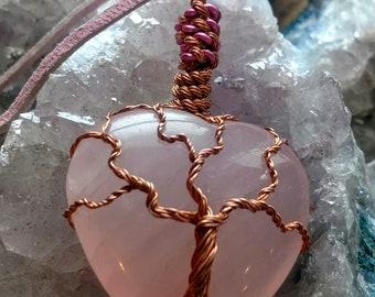 Rose Quartz Heart w Copper Tree of Life