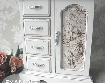 CUSTOMISABLE ORDER   MEDIUM Shabby Chic Vintage Jewellery Box / Armoire  Cabinet Case
