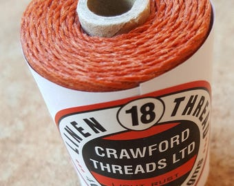 Crawford Waxed Linen Thread 4 Ply (0.8mm), 50 Gram Spool - Light Rust