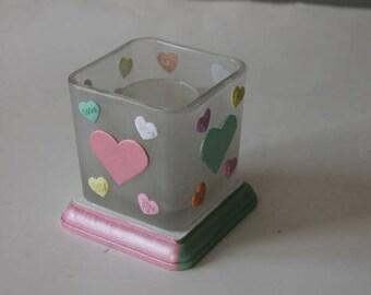 Valentine Conversation Hearts Candleholder, Valentine Candleholder, Valentine Decor, Valentine Wedding Centerpiece