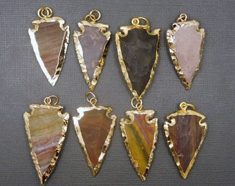 Jasper arrowhead etsy jasper arrowhead pendant with 24k gold electroplated edge made in india bulk lots 1 aloadofball Images