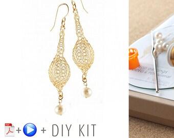 Crochet Pattern DIY kit - Wire Crochet Drop Earrings Pattern - DIY earrings KIT - Jewelry Making Kit - Earrings tutorial kit - Gift for Her