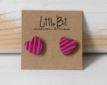 Hand-painted small striped earrings, girl gift, girl earrings