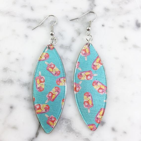 Long Resin earrings handmade, pops, summer, turquoise, color, on stainless steel hook, les perles rares