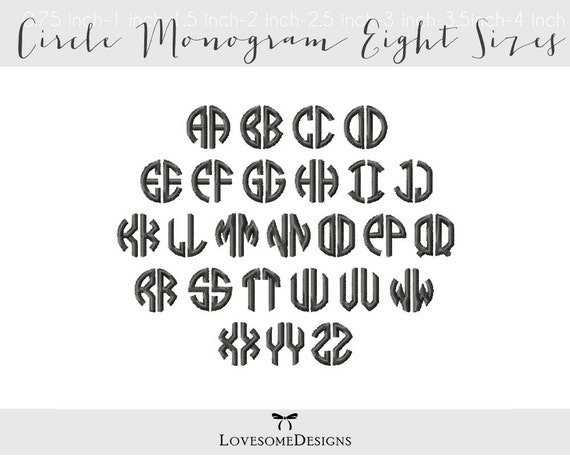 Circle Monogram Eight Sizes Two Letters Embroidery Font Machine