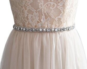 Vintage Rhinestone Pearl Bead Bridal Sash Wedding Sash