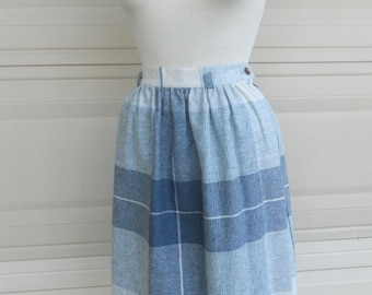 70s plaid skirt . blue gray high waist skirt . U.S. Clothing Co.
