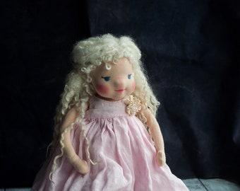 "Waldorf inspired doll, 14"" doll, collector dolls, recycled, fiber art doll, felt sculptured Waldorf doll, waldorf girl doll, pink, cashmere"