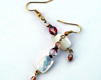 Romantic Bohemian Style Earrings, Mother of Pearl & Rose Czech Glass Bead Earrings, Gold Accents, Romantic Pearl Earrings, Valentines Day