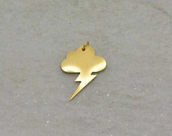 Wholesale Lot - Lightning Bolt Storm Cloud Silhouette Charm - Brushed 24k Gold Plated Stainless Steel Layered Minimal Jewelry  (AQ002)