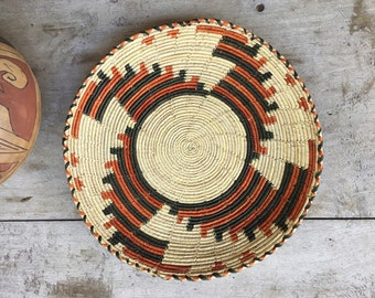 Flat Woven Basket Plate Bohemian Decor, Southwestern Decor, Coiled Basket Wall Decor