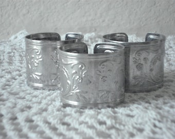 Vintage Stainless Steel Napkin Ring Soviet Russian Napkin Holder Metal Round Napkin Ring set of 3 Rustic Decoration made in USSR