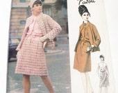"1960s Patou Mod Sleeveless dress dropwaisted Open Jacket sewing pattern Paris Original Vogue 1432 Size 14 Bust 34"" Label UNCUT FF"