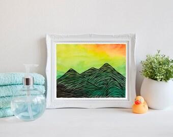 Sunrise Mountain Range Printable Art, Mountains, Watercolor Art, Outdoor Printable Wall Art, Mountain Print, Instant Download, 8x10