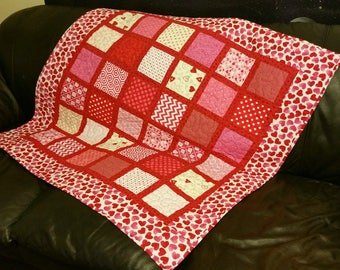 Valentine Quilt Red, White and Pink Heart Wall  Hanging or Baby Quilt