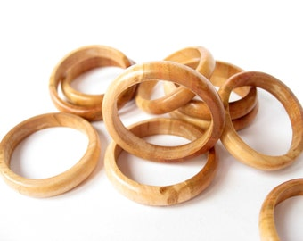 Wooden Beads, Wooden Ring, Round Wooden Beads, Wooden Jewelry, Unfinished Wooden Beads, Apricot tree Beads, Set of 5