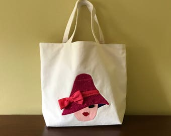 Unique Canvas Tote Bag - Canvas Market Bag - Beach Bag, One of a Kind