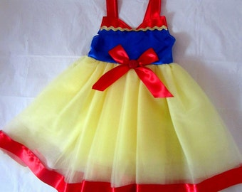 Snow White Princess Dress: red blue and yellow tutu & glitter, Easy on off wrap around dress, adjustable, halloween costume, birthday party