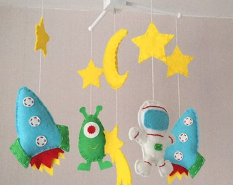 Space Mobile - Baby Mobile - Baby boy crib mobile - Cot Mobile -Nursery Decor - Boys Nursery - Space Nursery - Brights