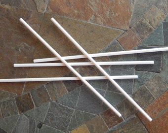 "50 Long Lollipop Sticks - 8"" White Paper Sticks - For Party Wands - Cake Toppers - Banners - Photo Shoot  Props - Crafts Projects - Cake Pop"