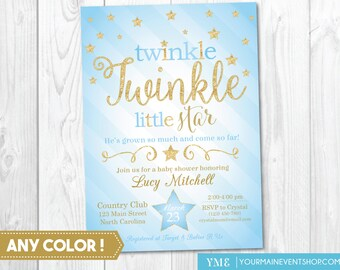 Twinkle Twinkle Little Star Baby Boy Shower Invitation, Twinkle Twinkle Shower Invitation, Blue and Gold Star Invitation, Boy Baby Shower