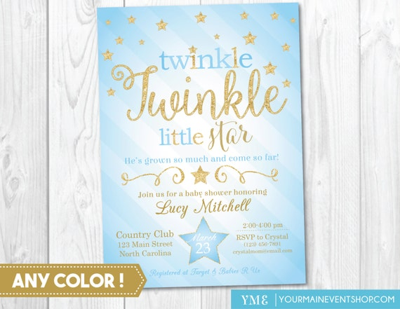 Twinkle Twinkle Little Star Baby Boy Shower Invitation