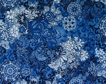 Blue Floral Fabric by the yard, Fabric Art Fabrics, Cotton Quilting, patchwork, sewing Fabric