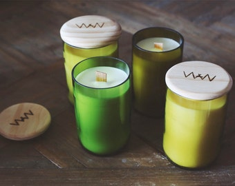 Recycled wine bottle candle - Coconut + Lime