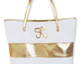 Monogram Gold Stripe Bag, Bridesmaids Gift Bags, Bachelorette Party Bags, Bridal Party Bags, Maid of Honor -