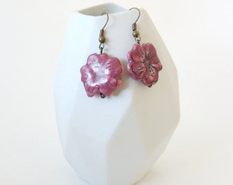 Pink Ceramic Flower Earrings -- Glazed Porcelain Pansy Beads -- Brass Drop Earrings -- Floral Charms -- UK Shop