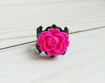 Rose Ring, adjustable band, choose your colors, ivory, white, chartreuse, hot pink, blue, green, lavender