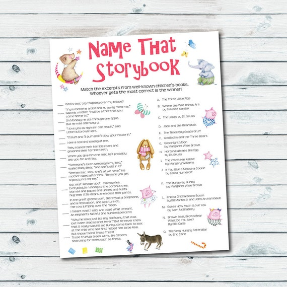 Storybook Baby Shower Games Storybook Quiz Printable Name