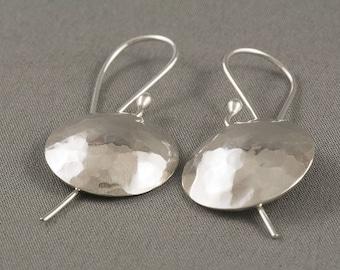 Sterling Silver Disk Earrings, Hammered Earrings, Domed Disk Earrings, Textured Earrings, Boho Earrings, Gypsy Earrings