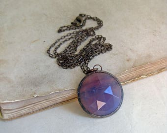 Purple Amethyst Glass Necklace, Stained Glass Jewelry