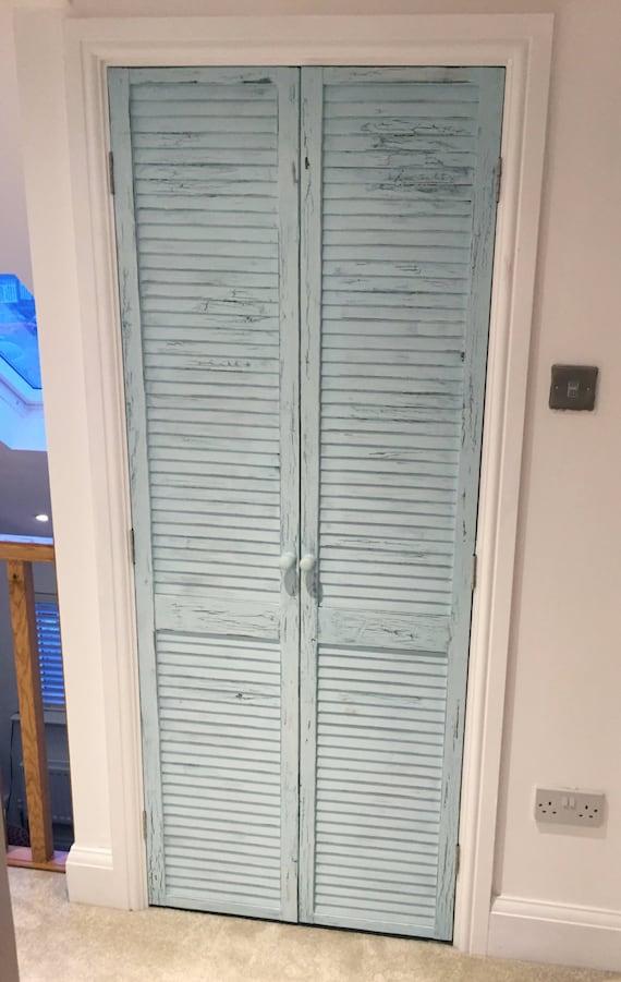 & Distressed shutter doors. Rustic louvre doors. Shabby-chic