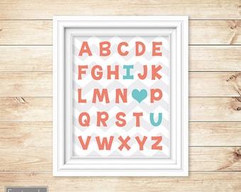 Coral Aqua Nursery Wall Art Alphabet I love You Heart ABC's Girl's Chevron Printable 11x14 Digital JPG Instant Download (23-ca)