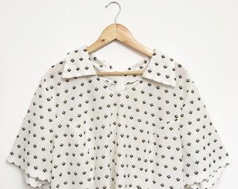Vintage 1970s Dress, 70s Dress, Mod Dress, Retro Shift Dress, Vintage White Dress, XL
